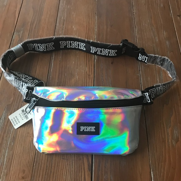 85c1223242344 NEW VS PINK Iridescent Fanny Pack NWT